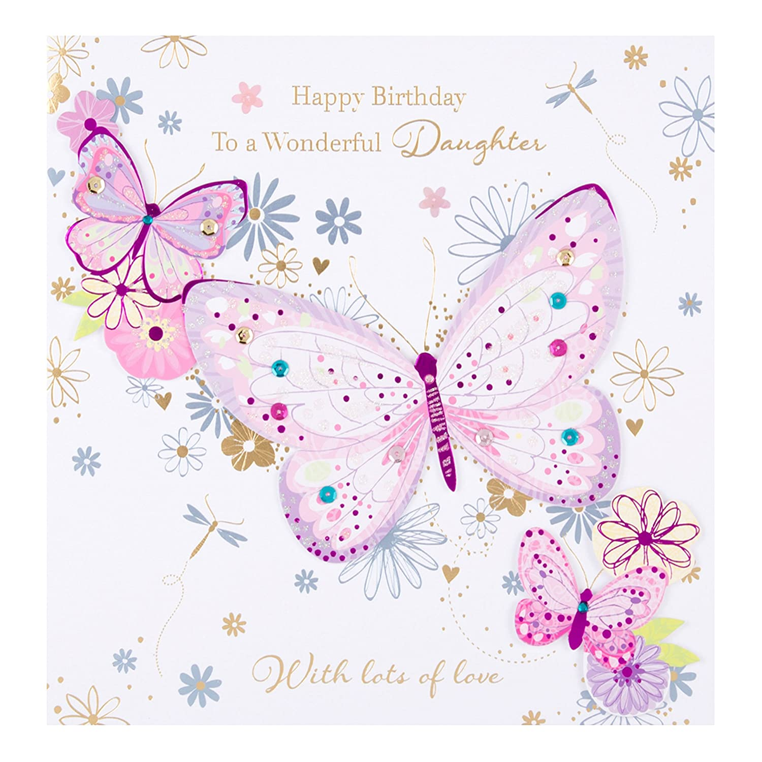 Amazon Wonderful Daughter Happy Birthday Greeting Card By Talking Pictures Cards Office Products
