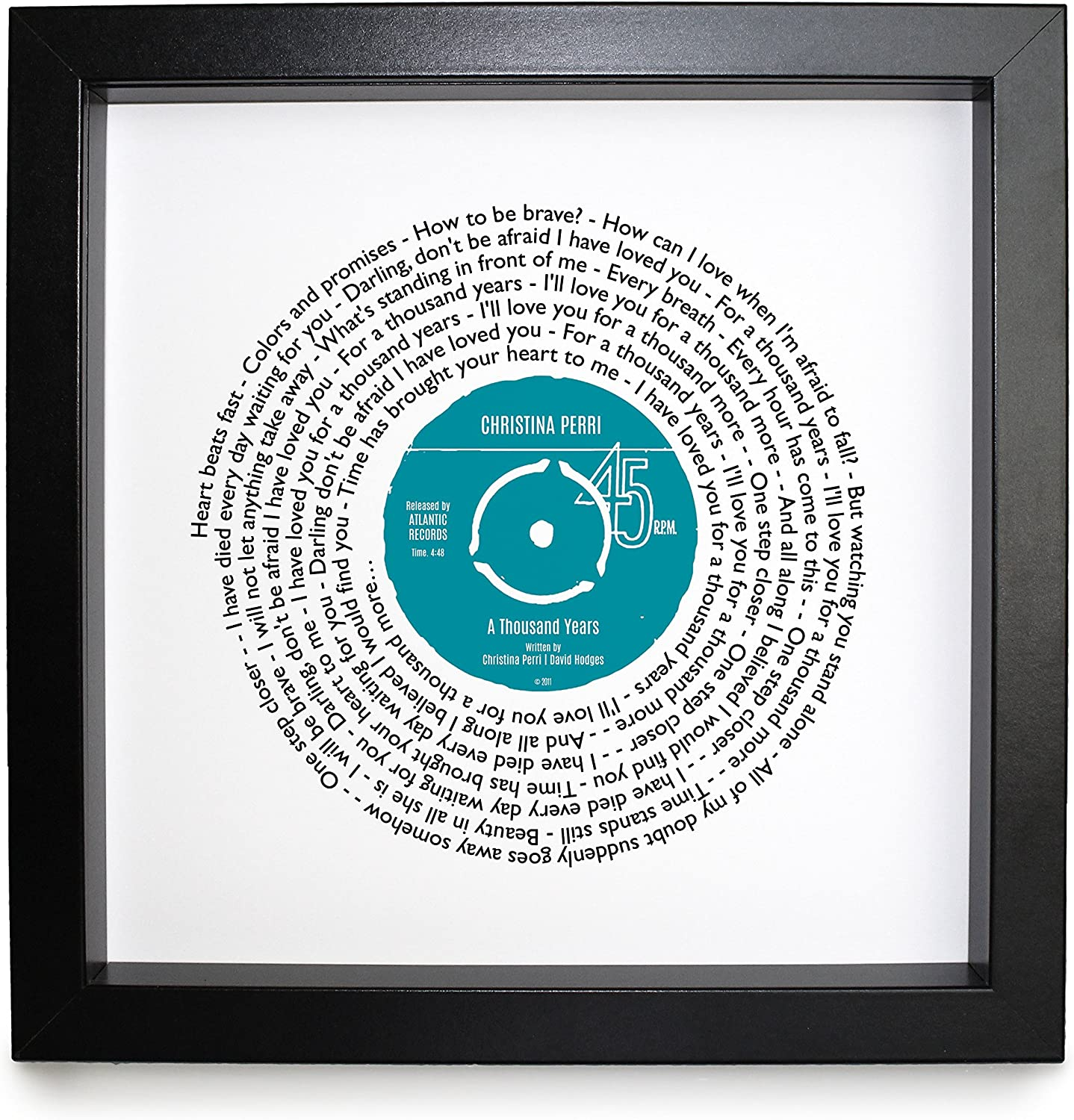 Framed Song Lyrics Print//Vinyl record style print//Valentines day gift//First Dance gift//Wedding gift//Anniversary present **CHOICE OF COLOUR** VA009-A004 Christina Perri A Thousand Years