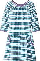 Marmellata Girls' Green Striped Knit Pocket Dress