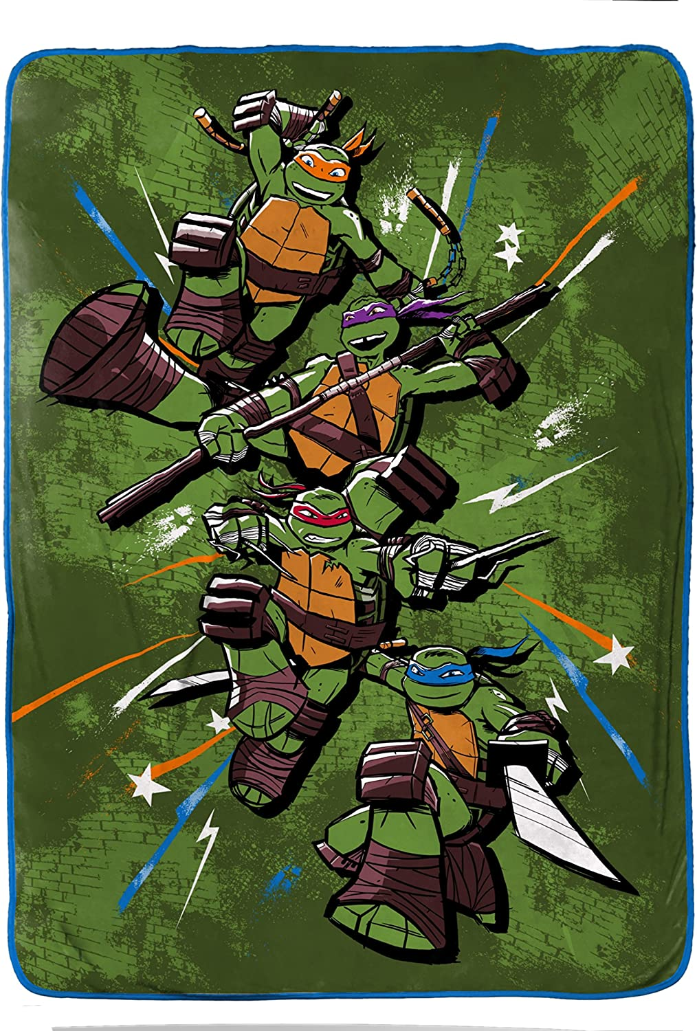 Jay Franco Teenage Mutant Ninja Turtles Mean Plush Coral Fleece Blanket, TMNT Green