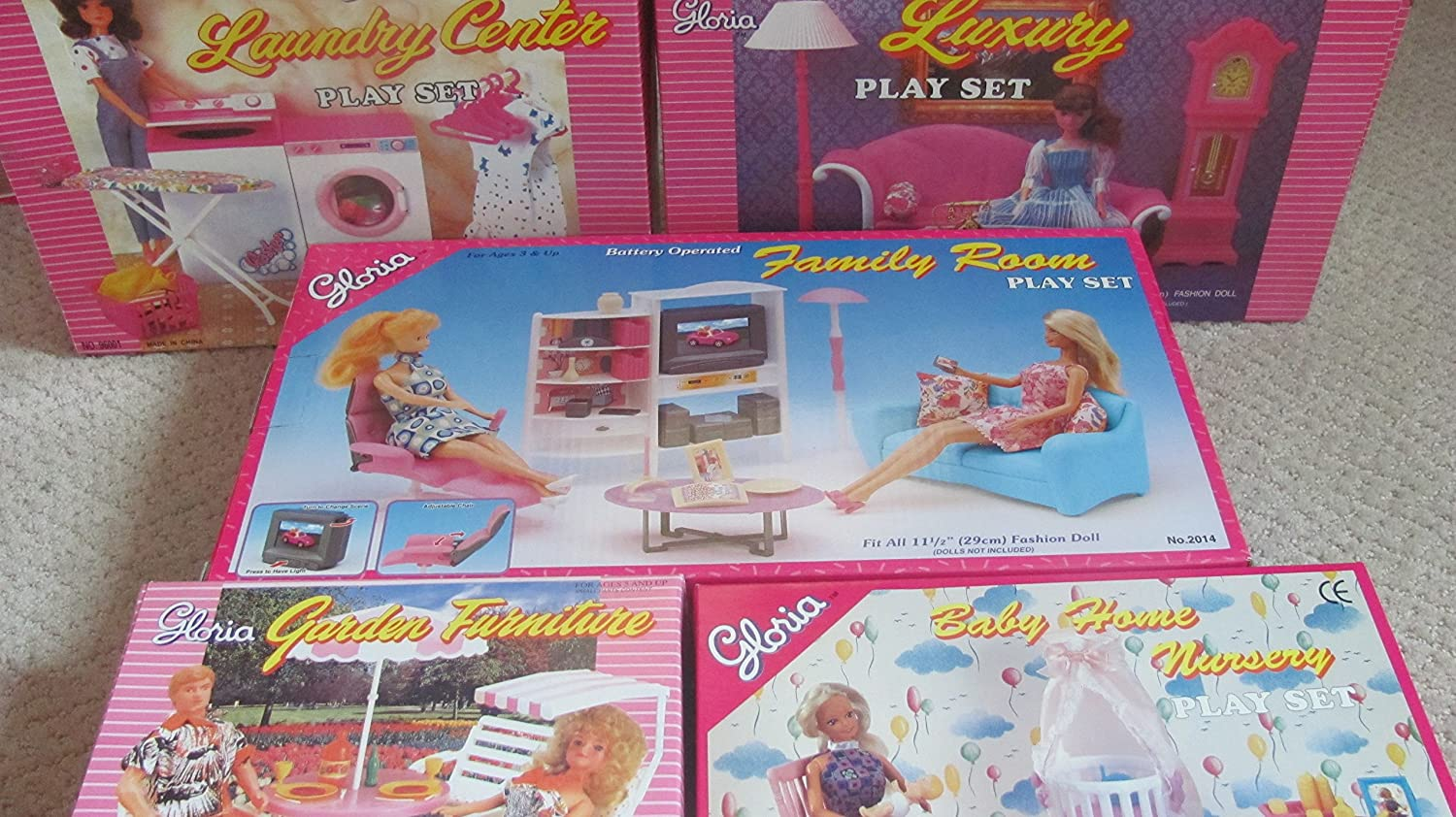 gloria Dollhouse Furniture for barbie dolls : 5 Sets Family Room, Living Room, Laundry Room , Baby Room Garden