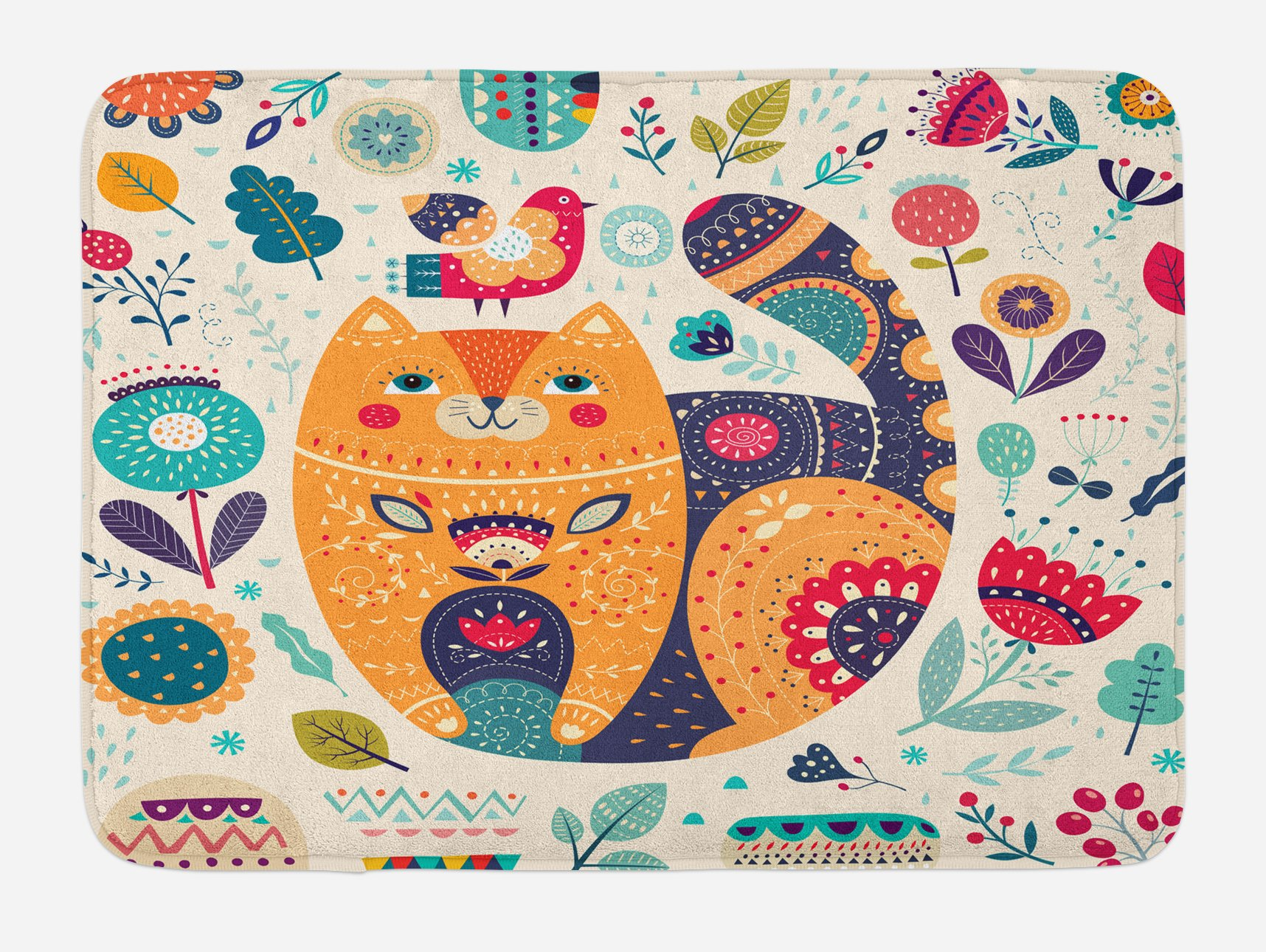 Ambesonne Paisley Bath Mat, Little Smiling Chubby Cheek Cat Animal with Various Oriental Leaf Flower Artwork, Plush Bathroom Decor Mat with Non Slip Backing, 29.5 W X 17.5 W Inches, Multicolor