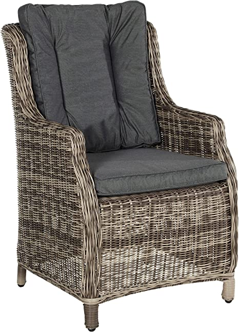 Butlers Granny Armchair 59 X 60 X 95 5 Cm Artificial Wicker Armchair With Seat Cushion And Back Cushion Grey Amazon De Kuche Haushalt