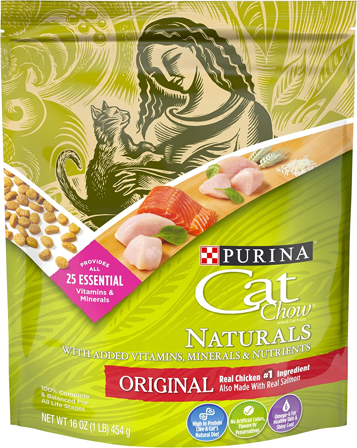 Purina Cat Chow Natural Dry Cat Food, Naturals Original - (6) 16 oz. Pouches