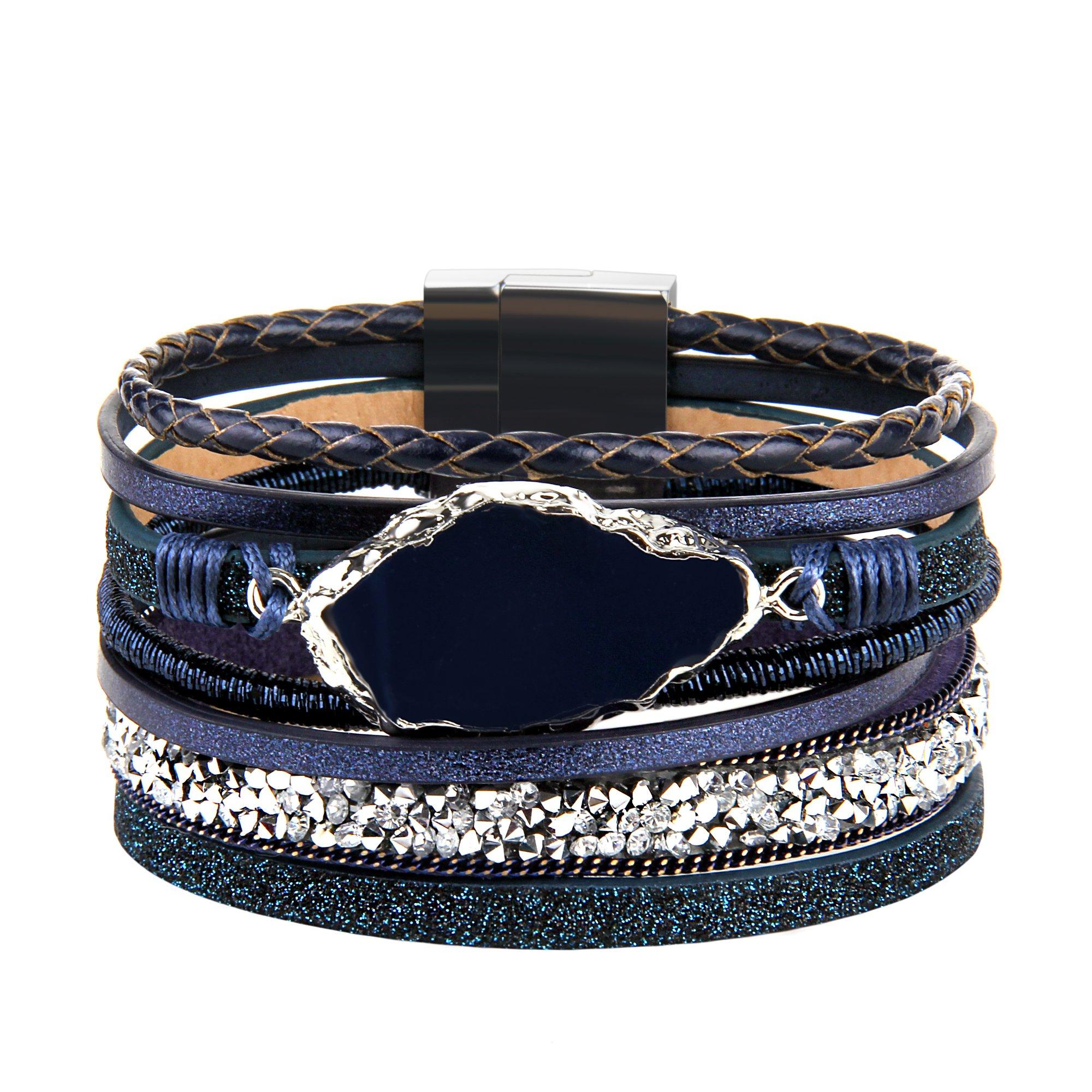 Leather Wrap Bracelet – Handmade Braided Cuff Bangle – Agate Stone Crystal Jewelry – for Women,Girl Gift By JAOYU