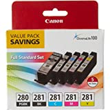 Canon PGI-280 / CLI-281 5 Color Ink Pack, Compatible to TS8120,TS6120,TR8520,TR7520, and TS9120 Wireless Printers, Multi, PGI