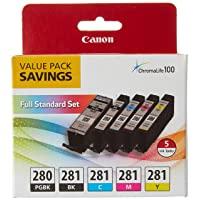 Canon PGI-280 / CLI-281 5 Color Ink Pack, Compatible to TS8120,TS6120,TR8520,TR7520, and TS9120 Wireless Printers, Multi, PGI-280 Full Standard Set