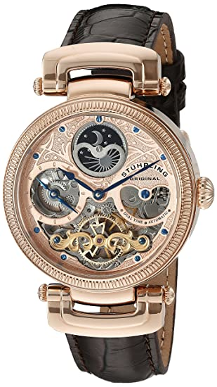 a2d544529 Stuhrling Original Men's 353A.334K14 Special Reserve Emperor Magistrate  Automatic Skeleton Dual Time Zone Rose Tone Watch: Amazon.ca: Watches