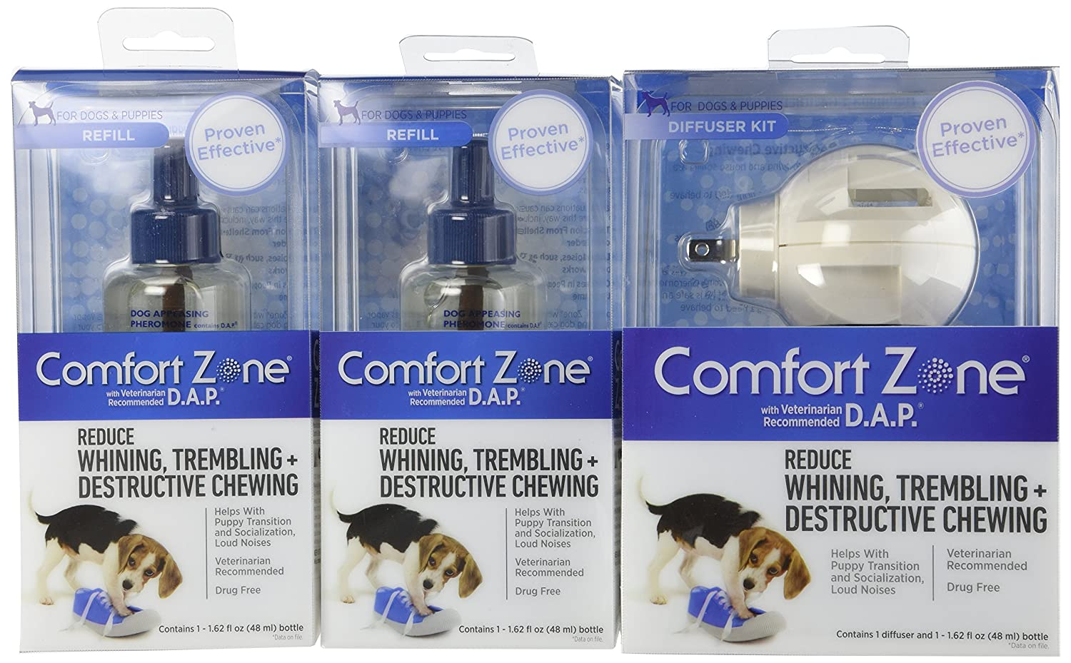 Comfort Zone Dog Appeasing Pheromone Diffuser with 2 Extra Refills for Behavior Control, 1-Pack