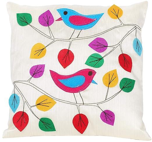 Exotic India - Funda de cojín con diseño de pájaros y Hojas ...