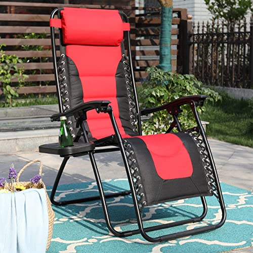 PHI VILLA Zero Gravity Chair Padded Recliner Adjustable Lounge Chair with Free Cup Holder Red