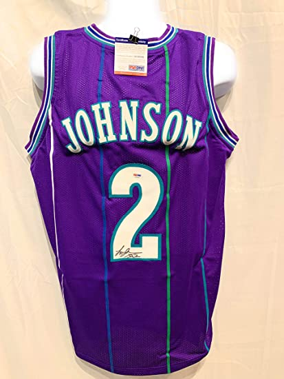 6832e8b6b6f Image Unavailable. Image not available for. Color  Larry Johnson Charlotte  Hornets Signed Autograph Purple ...