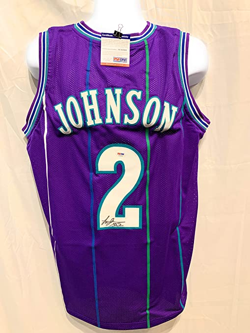 bdc95bdb3 Image Unavailable. Image not available for. Color  Larry Johnson Charlotte  Hornets Signed Autograph Purple Custom Jersey JSA Witnessed Certified