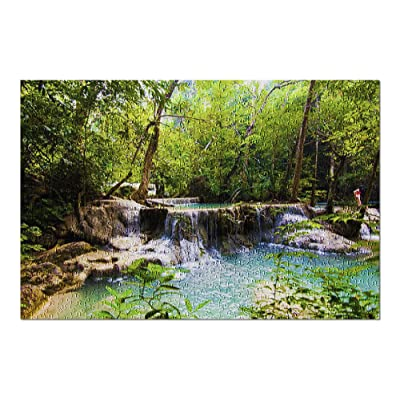 Colorful Lush Landscape of Erawan Waterfall, Kanchanaburi, Thailand 9016199 (Premium 500 Piece Jigsaw Puzzle for Adults, 13x19, Made in USA!): Toys & Games