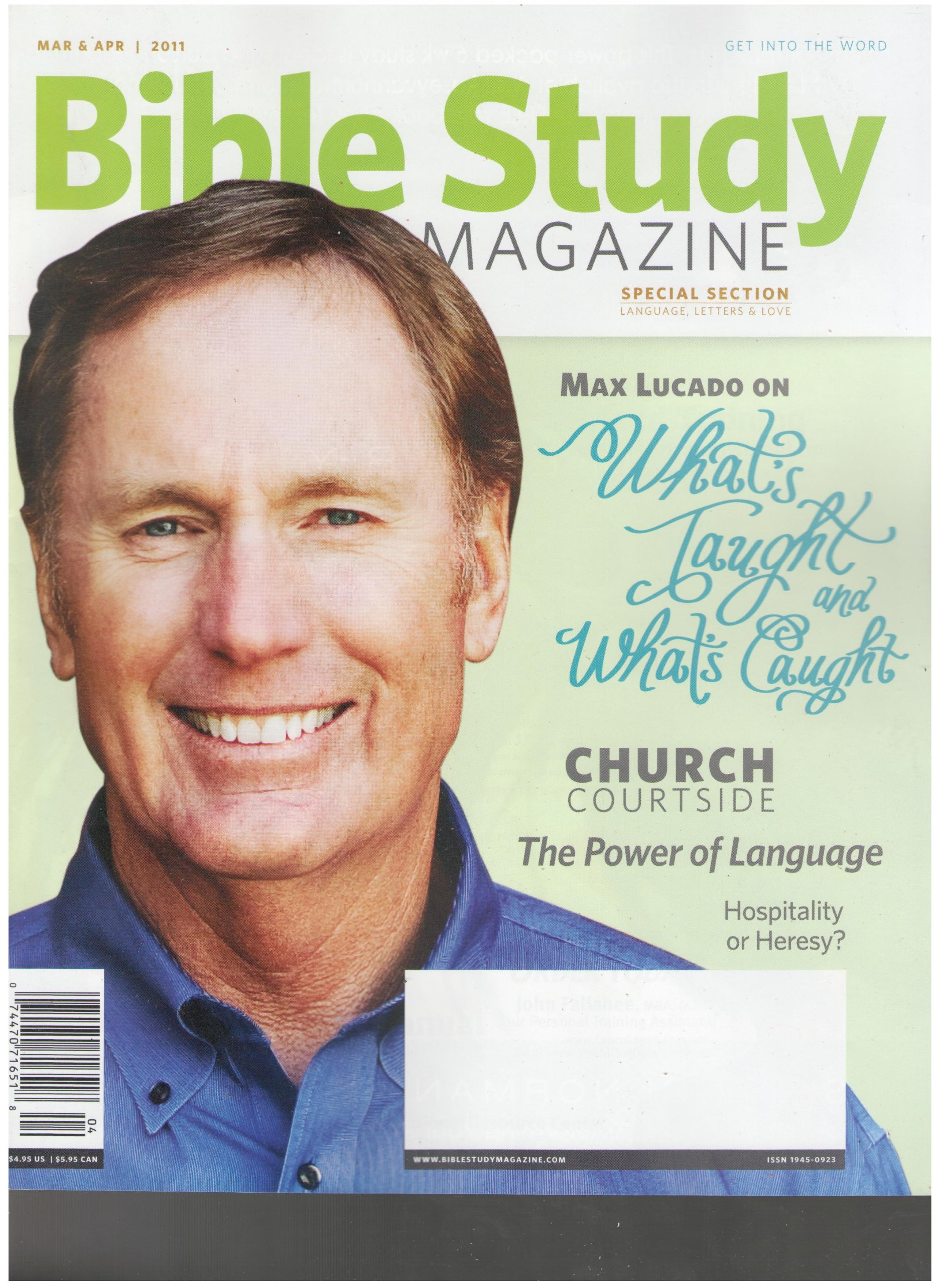 Read Online Bible Study Magazine (Max Lacado What's Taught and What's Caught, March April 2011) ebook