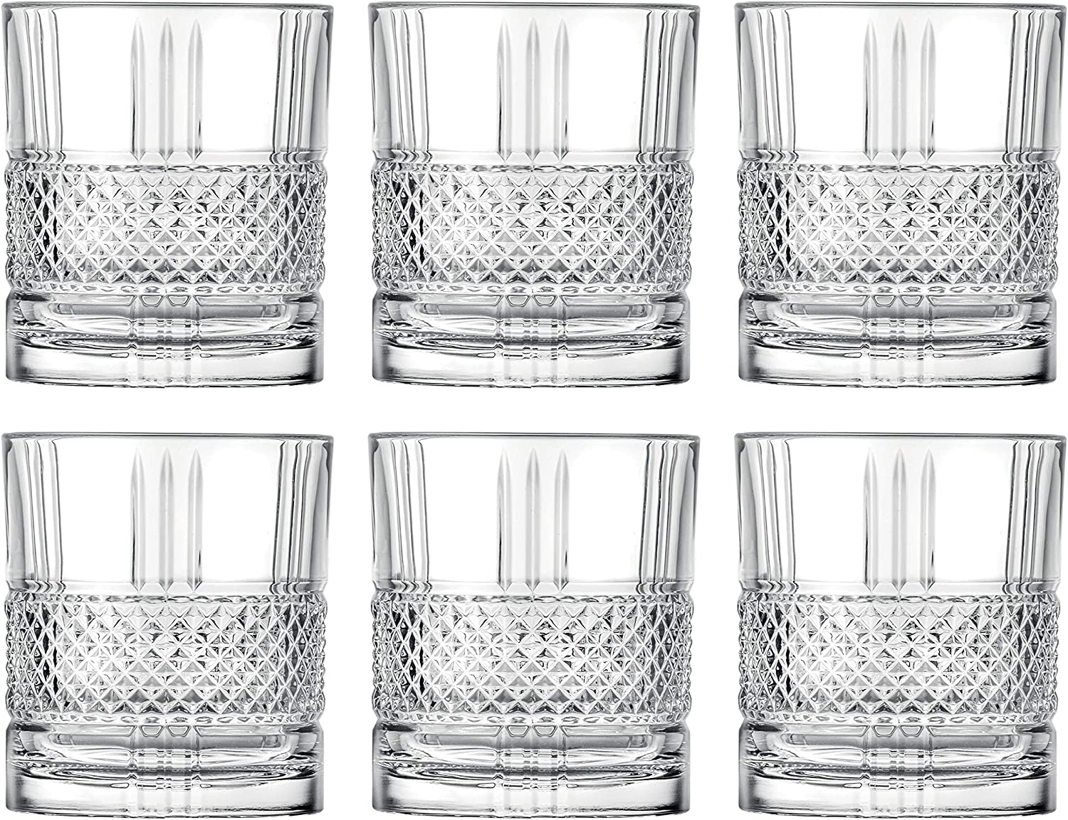 Tumbler Glass - Double Old Fashioned - Set of 6 Glasses - Designed DOF tumblers - For Whiskey - Bourbon - Water - Beverage - Drinking Glasses - 12 oz. - Lead Free Crystal - Made in Europe By Barski