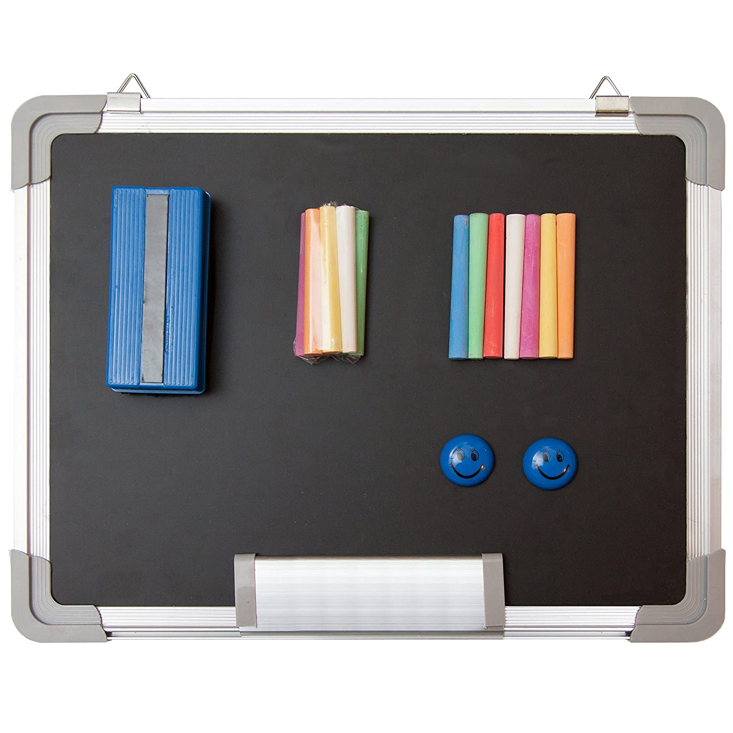 "Chalkboard Set - Small Black Board 15 x 12"" + 1 Magnetic Chalk Eraser, 14 Chalk Sticks (7 Colors) and 2 Magnets - Mini Hanging Wall Message Sign Blackboard for Home Office Kids (15x12"" Landscape)"