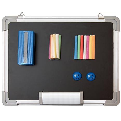 Pizarra de Tiza Magnética - 38x30cm Pizarra Negra Pequeña con 1 Borrador Magnético, 14 Tizas (7 Colores) y 2 Imanes - Mini Tablero Magnéticas para ...