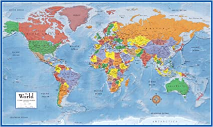 Swiftmaps World Premier Wall Map Poster Mural 24h x 36w Paper Rolled