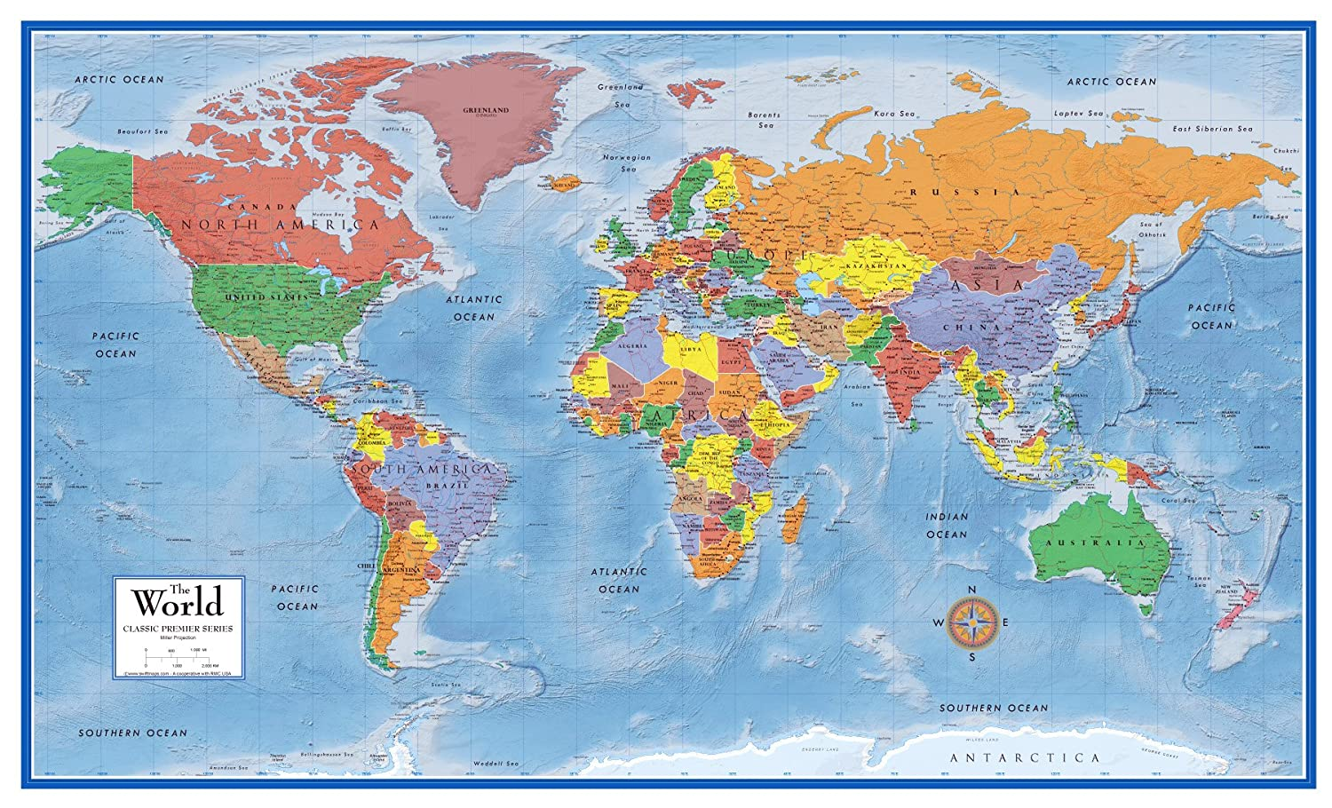 Amazon.com: 48x78 World Classic Premier Wall Map Mega Poster (48x78 ...