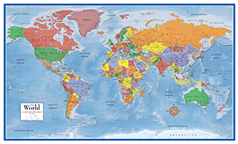 Map Of The World Poster Amazon.com: 48x78 World Classic Premier Wall Map Mega Poster