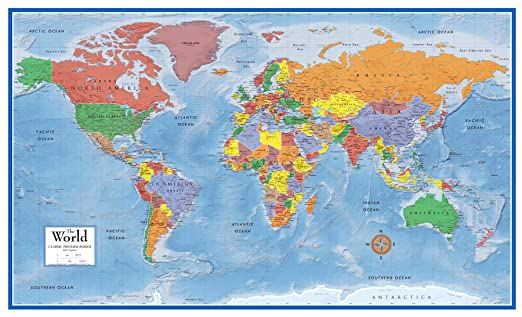 amazoncom 48x78 world classic premier wall map mega poster laminated office products
