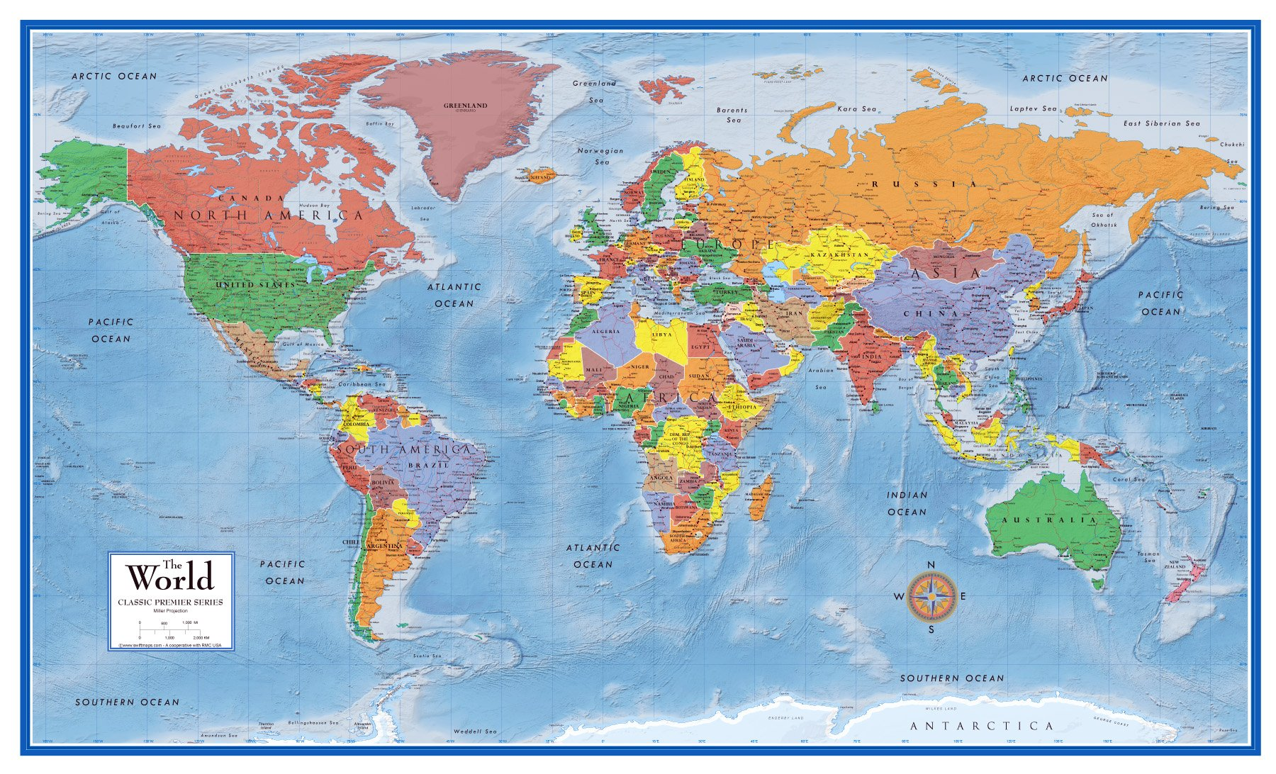 48x78 World Classic Premier Wall Map Mega Poster (48x78 FRONT LAMINATED)