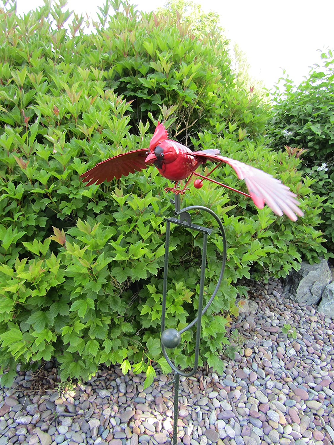 Big Sky Antiques Whimsical Wing Flapping Kinetic Metal Red Cardinal Yard Stake Wind Spinner Whirly-Gig Windmill Garden Art Bird