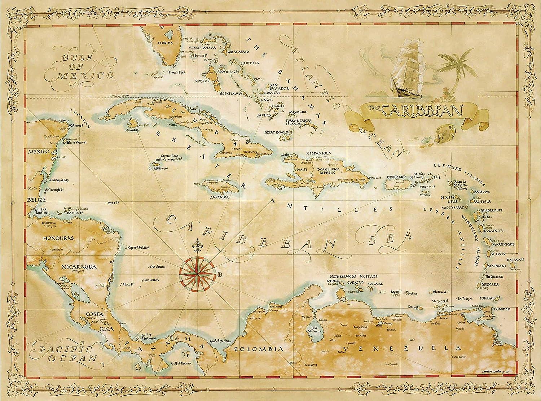 Amazon.com: Caribbean Map: Prints: Wall Art