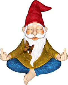 Mood Lab Garden Gnome - Zen Gnome Statue - 9 Inch Tall Hand Painted Lawn Gnome Figurine for Outdoor or House Decor