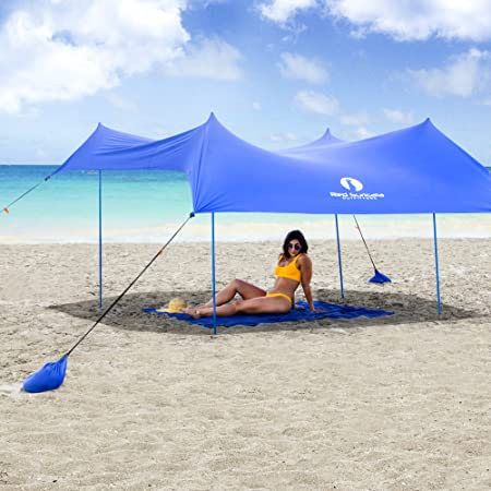 Red Suricata Family Beach Sunshade – Sun Shade Canopy UPF50 UV Protection Tent with 4 Lightweight Aluminum Poles, 4 Sandbag Anchors Large Portable Shelter Tarp
