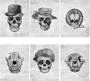 Skull Wall Decor Poster Set - 6 Pack, 8x10 UNFRAMED - Gothic Decor for Bedroom - Goth Wall Decor - Skull Bathroom Decor - Skeleton Poster - Skull Art Wall - Halloween Poster - Gothic Accessory design