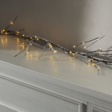 LampLust Twig Branch Garland with Lights | 60 Warm White LEDs, 5 ft, Battery Operated, Auto Timer Option Included