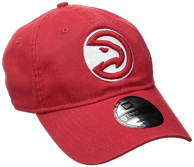 new product 0424b 1fd61 NBA Atlanta Hawks Adult Men NBA Core Classic 9Twenty Adjustable Cap,OSFA,Red