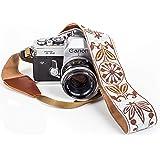 White Woven Vintage Camera Strap for All DSLR Camera. Embroidered Elegant Universal Neck & Shoulder Strap, Floral Pattern Strap Best Stocking Stuffer for Men & Women Photographers