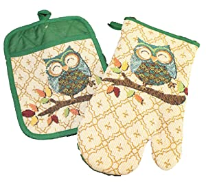 Twisted Anchor Trading CO 2 Pc Fall Autumn Owl Pot Holder and Owl Oven Mitt Set - Great Fall Pot Holder Set - Comes in an Organza Bag So It's Ready for Giving!