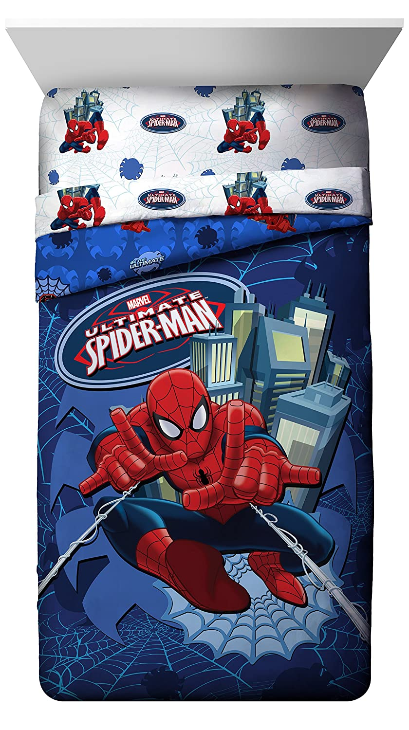 Marvel Spiderman Astonish Full Comforter - Super Soft Kids Reversible Bedding features Spiderman - Fade Resistant Polyester Microfiber Fill (Official Marvel Product) J Franco JF20734