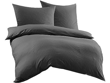 Bettwaesche Mit Stil Mako Satin Damast Streifen Bettwäsche Linea 4mm