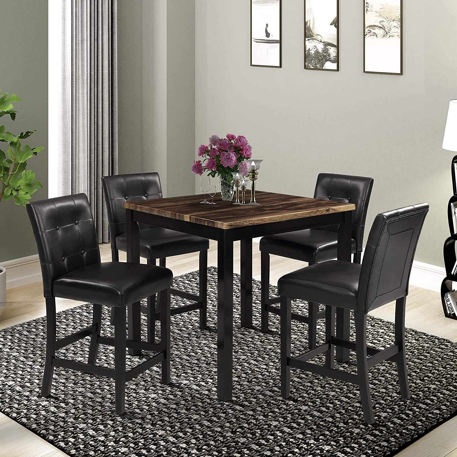 LENTIA 5 Piece Kitchen Dining Table Set Marble Top Counter Height Dining Table Set with 4 Leather-Upholstered Chairs Brown Marble Top 2
