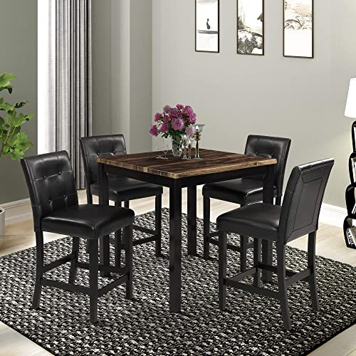 Harper Bright Designs 5-Piece Kitchen Table Set Brown Wood Grain Top Counter Height Dining Table Set with 4 Black Leather-Upholstered Chairs