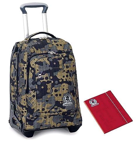 60ab2e1a08 TROLLEY TECH INVICTA + Cartellina A4 - Camouflage verde - 2in1 Carrello sganciabile  Zaino 34 LT
