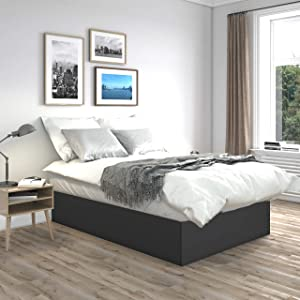 Boyd Sleep Bedroom Furniture: Uplift Pedestal Platform Bed Frame Mattress Foundation with Strong Wood Slat Supports, King, Black