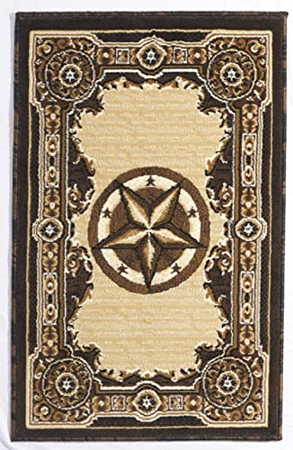 Rugs 4 Less Collection Texas Lone Star State Novelty Door Mat Area Rug R4L 723 Chocolate Brown 2 X3