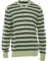 Sean John Mens Stripe V-Neck Knit Sweater