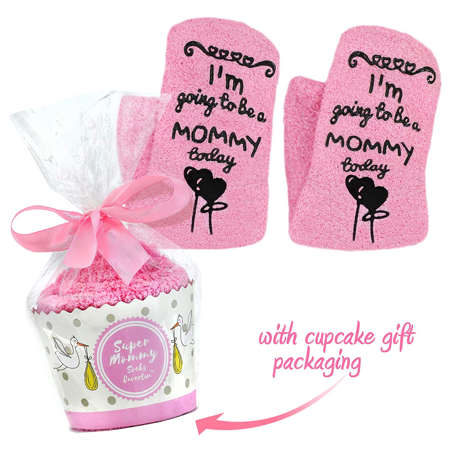 Cavertin Labor and Delivery Socks with Non Skid Grip & Cupcake Gift Packaging | Perfect Baby Shower Gift | Pretty Hospital Socks | Maternity Gift For Women | Best Birth Socks Cavertin Enterprises