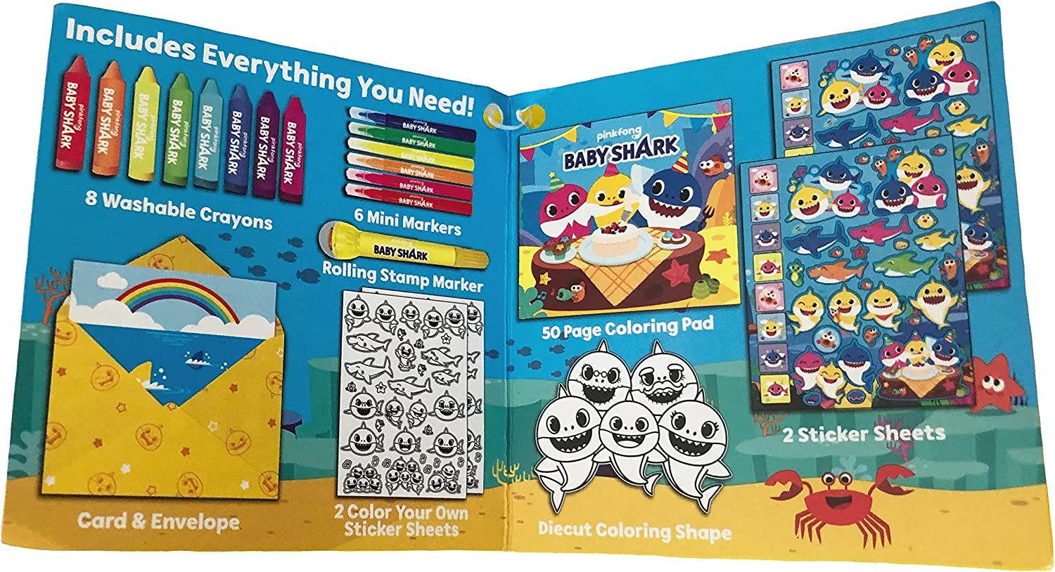 Baby Shark Coloring Case Kit Coloring Pad with Mini Markers Crayons and Sticker Sheets