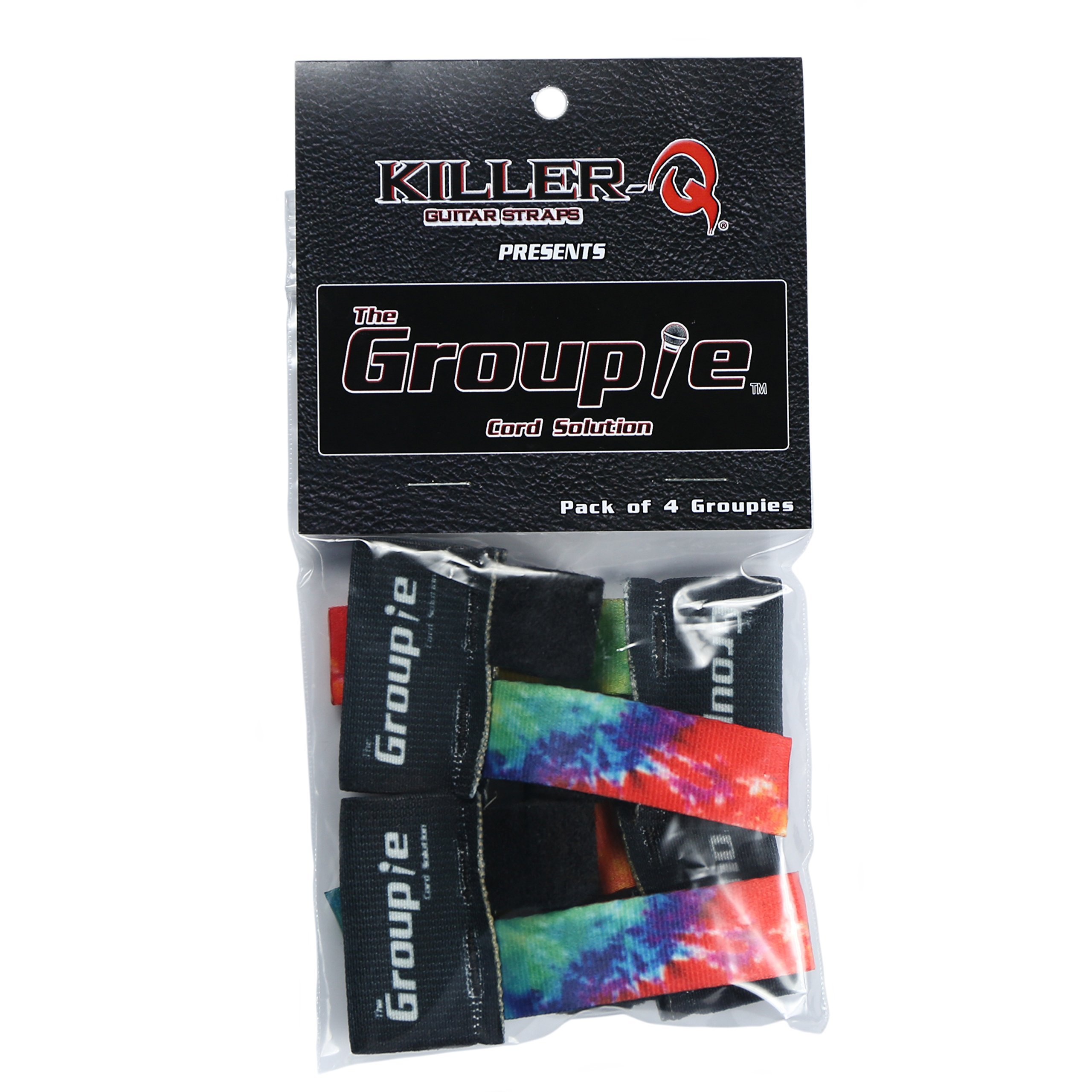 Killer-Q Guitar Cable Organizer System - The Groupie Cord Keeper Tie Solution For Instruments, Audio Equipment – Tie Dye, 4 Pack