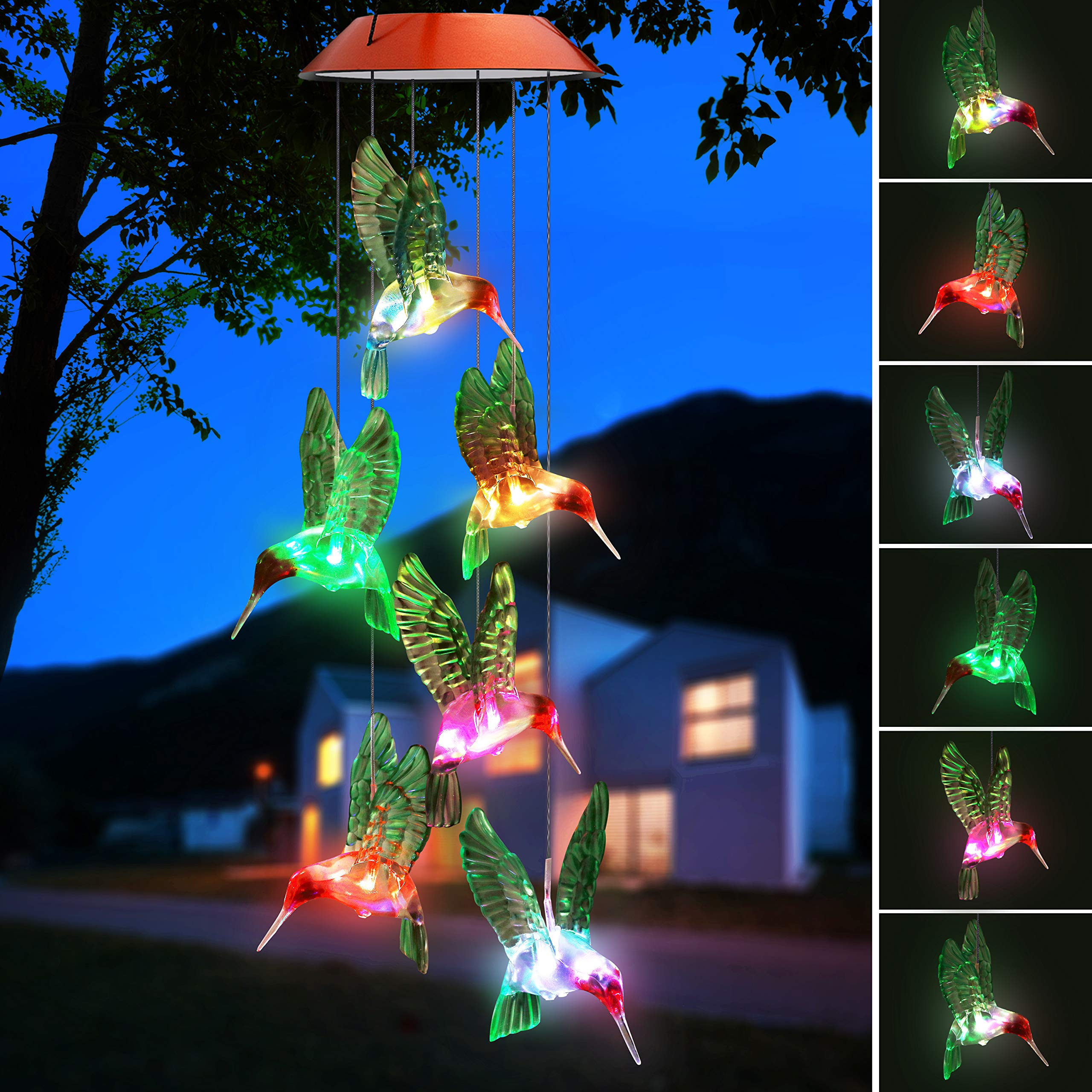 Topspeeder Color-Changing LED Solar Mobile Wind Chime LED Changing Light Color Waterproof Six Hummingbird Wind Chimes for Home Party Night Garden Decoration(Hummingbird) by Topspeeder