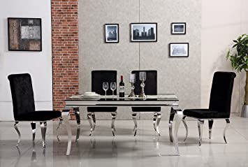 chrome metal dining table with black glass top and 4 upholstered rh amazon co uk
