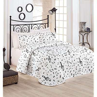 DecoMood Music Bedding, Full/Queen Size Bedspread/Coverlet Set, Melody Themed, Black and White Girls Boys Bedding, 3 PCS,: Home & Kitchen